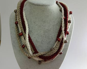 Crocheted Multi Stranded Beaded Necklace