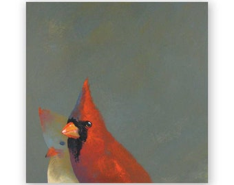 Cardinal Pair - 8 x 8 Wings on Wood Decor