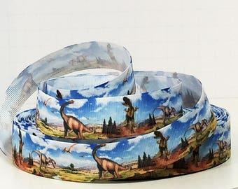 "Dinosaur Grosgrain Ribbon - Dinosaurs - 7/8"" Printed Grosgrain Ribbon"