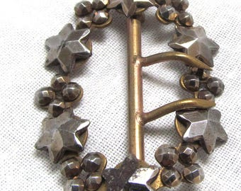 Victorian Cut Steel Bead Buckle with Stars