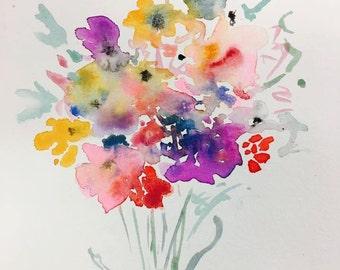 Watercolor Bouquet Purple Print