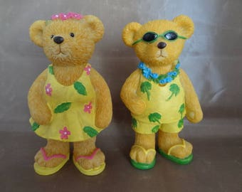 "Resin Summer Bear Couple in ""Tommy Bahama"" Clothes, Flip-Flops & Flowered Leis"