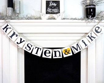 Wedding Garland / Custom Names Banner / Wedding Banner / Couples Shower Rustic Decor / Engagement Party / Wedding Decorations / Personalized