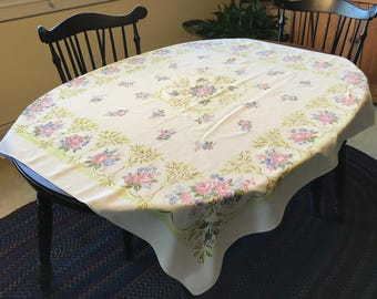 Vintage Chartreuse and Floral Tablecloth