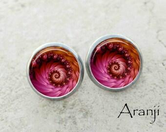 Pink fractal swirl stud earrings, fractal earrings, spiral earrings, spiral stud earrings, swirl earrings, pink post earrings PA165E