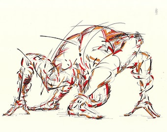 Yoga Art -- Original color drawing on paper // Getting the head behind the leg...