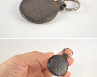 Vintage Leather Key Chain, Brown Leather Key Ring, Antique Keychain, Genuine Leather Key Ring, Gift for Biker, Automobile Leather Key Chain