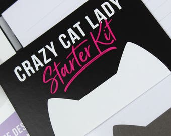 Gift set for cat lover, cat pin badge, gift for her, personalised cat lover gift, Crazy cat lady starter kit