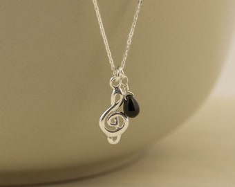 Sterling Silver Treble Clef Necklace, Treble Clef Black Bead Necklace, Music Necklace, Gift for Girl, Dainty Symbolic Necklace