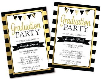 Floral graduation invitation black white stripe graduation black white stripe graduation party invitation black white and gold graduation invite printable filmwisefo