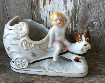 Cherub and Dog Planter, Made in Japan