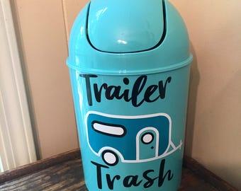 Trailer Trash Trash Can- RV Decor- Small Trash Can- RV Trash Can- Camper Decor- Trailer Trash- Vinyl- Camper Trash Can- 5 Liter Trash Can