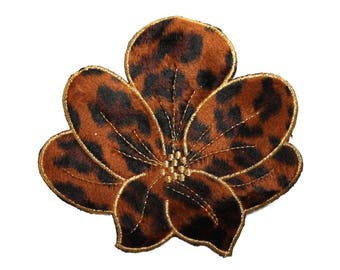 ID 5095 Fuzzy Leopard Print Flower Large Patch Embroidered Iron On Applique