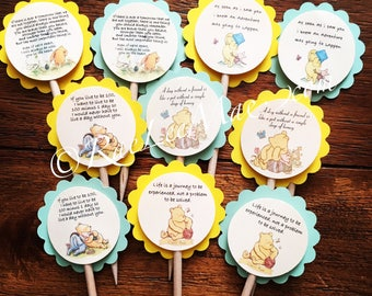 """Classic Winnie the Pooh quote cupcake toppers/5 designs/2"""" Winnie the Pooh cupcake toppers/baby Winnie the Pooh baby shower/classic pooh"""