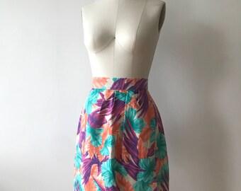 Vintage 1980s Tropical Foliage Skirt / small/medium