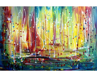 Estuary Sunset Boats Abstract Painting Inspired by Pollock Colorful Lake Art by Luiza Vizoli