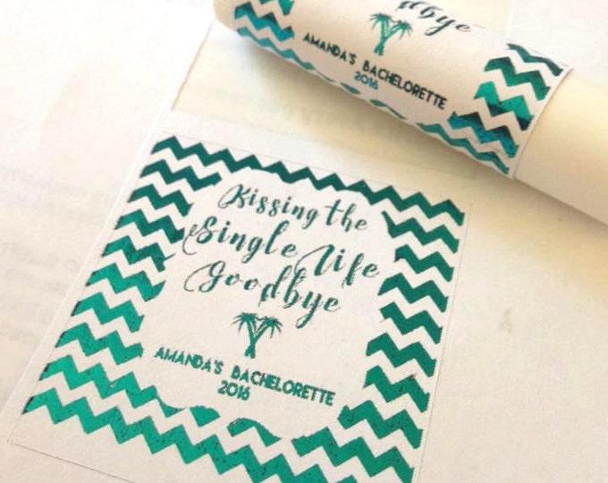 Kissing the Single Life Goodbye, Gold foiled lip balm labels various designs, wedding favors, bachlorette party, beach wedding, custom