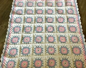Crochet granny square baby blanket pink blue white