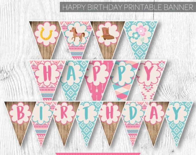 Pony Banner, Horse Banner, Cowgirl Banner, Country Banner, Birthday party decorations, Printable Banner, Instant download