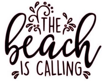 The Beach is Calling, Beach Decal, ocean decal for car, laptop, beach vinyl sticker, beach, outdoor decal, approximately 5x6 inches