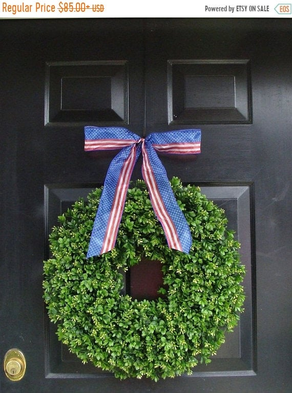 SUMMER WREATH SALE Patriotic Wreath- 20 inch Boxwood Wreath American Flag Ribbon- July 4th Wreath- 4th of July Decor