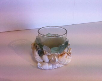 Natural Sea Shell and Sea Glass Votive