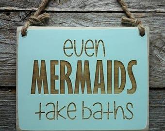 Mermaid Sign, Mermaid Decor, Kids Bathroom Sign, Kids Decor, Mermaids Bath, Beach Decor, Beach House Sign, Mermaid Wall Art, Bathroom Decor