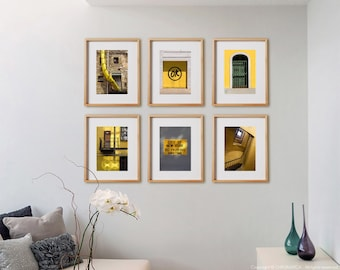 Yellow 6V Print Collection.  Detail photography, architectural, decor, wall art, artwork, large format photo.