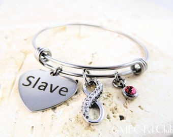 Steel Swarovski® Crystal Infinity Slave Bangle  - Limited Quantity