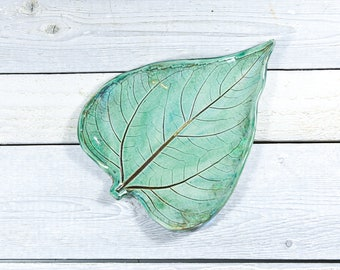 Pottery Leaf Spoon Rest - Turquoise - Ceramic Soap Dish