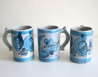 Trio Blue Tonala Bird Tall Mugs