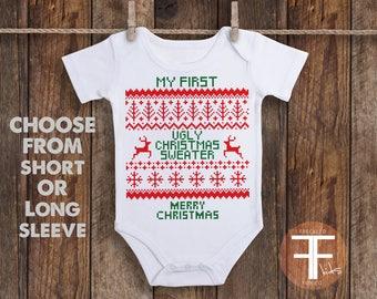Ugly Christmas Sweater, Christmas Outfit, My First Ugly Christmas Sweater ONESIE®, Christmas Baby Gift, Newborn Christmas, Christmas Shirt