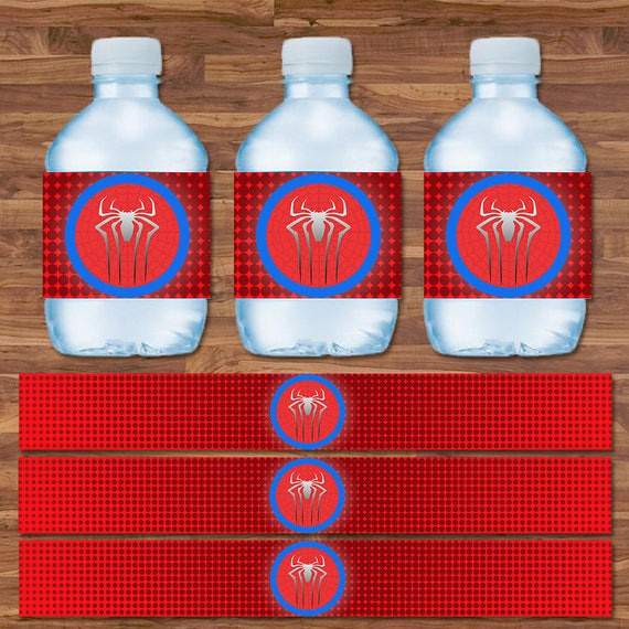 Water Bottle Name Tags: Spiderman Drink Labels Spiderman Water Bottle Labels Red