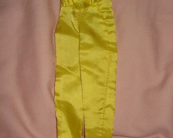 Vintage Fashion Doll yellow silk pantsuit   NEEDS TLC  -  ev01
