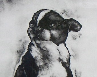 Dog art Original OOAK fine art monotype print wall, home decor Angel