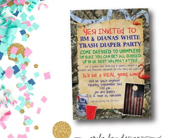 White trash bash etsy white trash bash baby shower invitation diaper party baby shower invite beer stopboris Image collections