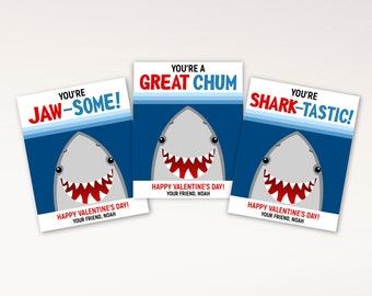 Classroom Valentines for Kids - Shark Valentine