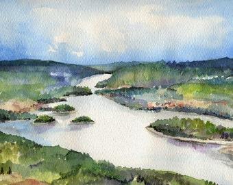 Peace River Alberta Watercolor Landscape Painting - Photo Print