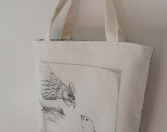 Original pen ink drawing on SMALL fabric tote bag, gift bag, teacher gift bag, chicken, Monica Minto