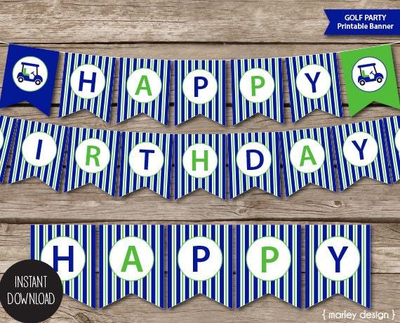 Happy Birthday Printable ~ Printable golf party happy birthday banner instant download