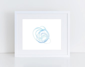 Blue Abstract Circles Watercolor Printable | Abstract Watercolor Print | Blue Watercolor Print | Nursery Art | Abstract Gallery Wall Art