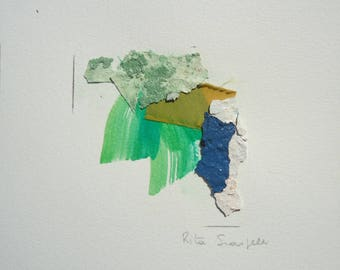 """Small Painting- Collage 5-mixedmedia-material-abstract-informal.Size 7.8 """"x7.8"""