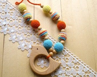 Crochet Teething necklace for mom Wooden teether Nursing knit jewerly Breastfeeding necklace Babywearing necklace Sling Teething accessories