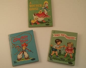 3 Vintage Children's Books -- Whitman's Tiny Tales, 1949-1950, Cowboy Bill, Tunes for Toddlers, A Little Mother Goose, 4 1/8 by 3 1/4 Inches