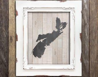 Nova Scotia Map, Nova Scotia Art Print, Halifax Map, Halifax Art Print, Cape Breton Map, Rustic Lake House Decor, Custom Province Print
