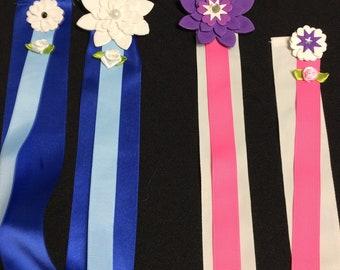 Ribbon hair bow and clips holder