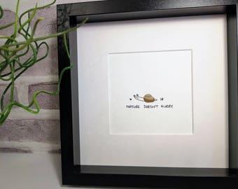 Pebble art snail picture
