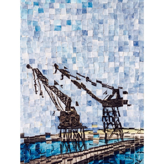 "New York Harbor Cranes Distortion 2: 16""x12"""