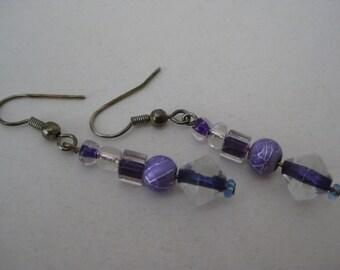 Purple Clear Dangle Earrings Pierced Wire Vintage