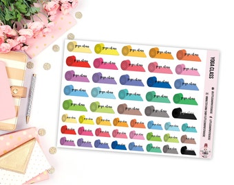 Yoga Mats    49 Planner Stickers, Yoga Stickers, Planner Decor, Item Planner Stickers, Item Stickers, Yoga Planner Stickers